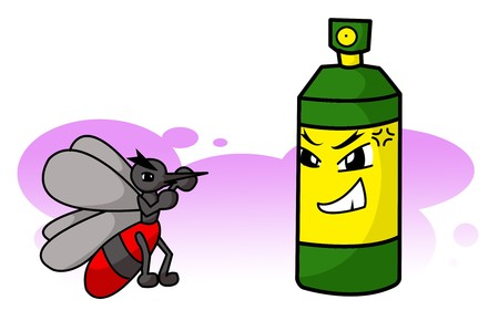insect mosquito: art cartoon mosquito and mosquito spray can illustration