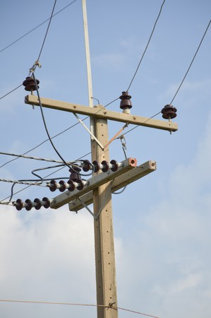 cement pole: electricity post in country Thailand Stock Photo