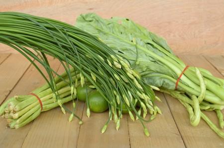 long bean: green Lime Yardlong bean Leek and kale on wood floor