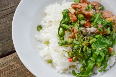 cow pea: pork and vegetable fried on hot rice - Thailand healthy food Stock Photo