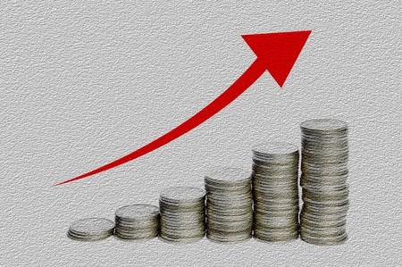 munt geld Thailand op een grijze kleur illustratie achtergrond Stockfoto
