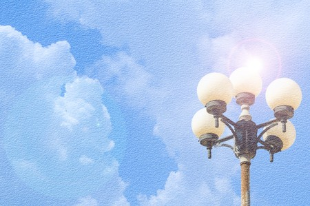 lamp on the pole: grunge Lamp pole on blue sky Stock Photo