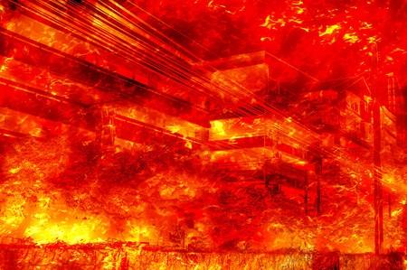 quemadura: arte quemadura incendio en el edificio de ilustraci�n de fondo