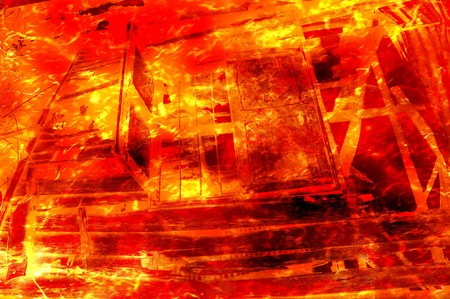 art fire burning wood home pattern illustration background Stock Photo