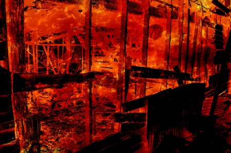 art fire burning wood home pattern illustration background Stock Photo