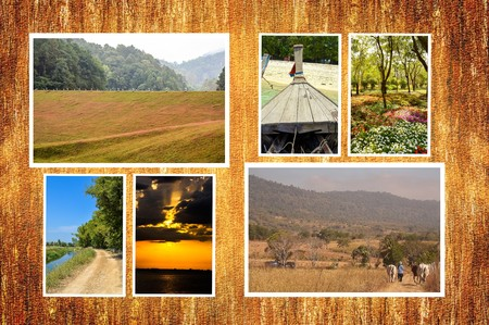 backdop: photo travel in Thailand on wood plank illustration background