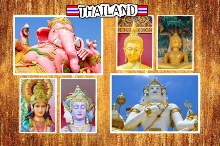 lakshmi: photo religion statue in Thailand on wood plank illustration background