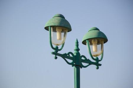自然観察園でランプ ポスト 写真素材
