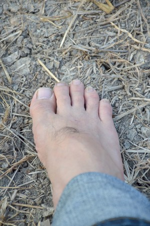 close up foot on the ground