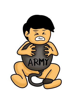 Junge geboren Armee Cartoon Illustration Slave Standard-Bild - 52071163