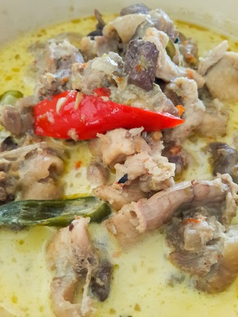 green curry with chicken or kaeng khiao wan kai , thai traditional food