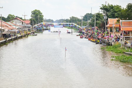 boat race: CHACHOENGSAO,THAILAND - November 8 : Unidentified crew in traditional Thai long boats compete during Country cup. Traditional Long Boat Race Championship on November 8, 2015 in Chachoengsao, Thailand.