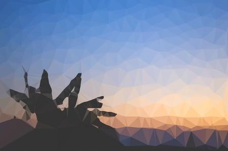 afterglow: art polygon twilight illustration background Stock Photo