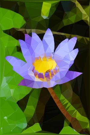 waterlily: Low polygon blue lotus flower