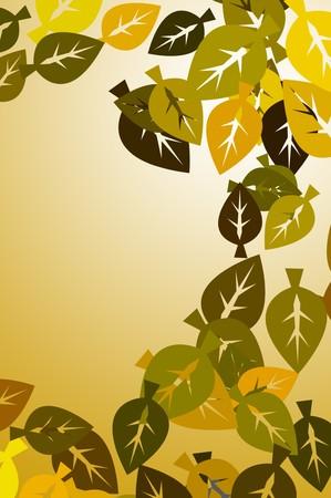 yellow leaves: art yellow leaves pattern illustration background Stock Photo