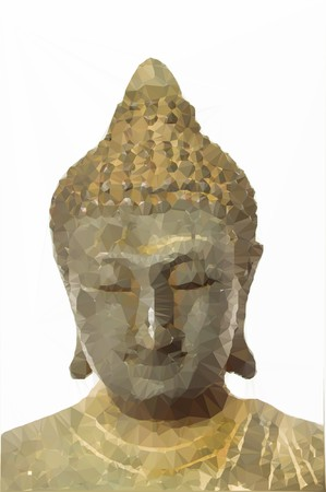 Low polygon old buddha statue
