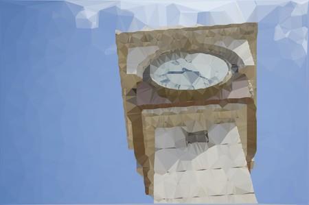 clock tower: art polygon clock tower