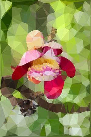 Low polygon pink sal flower
