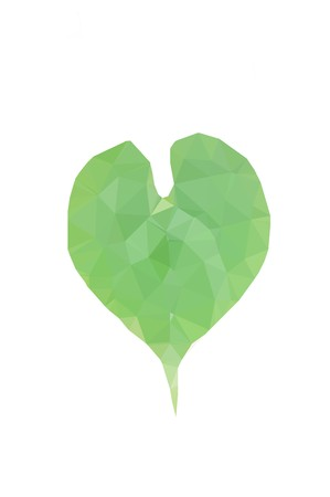art green polygon heart on white background Imagens