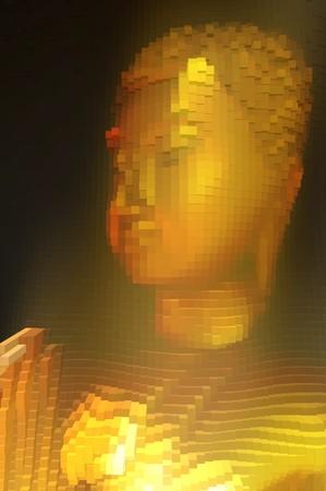 art gold block buddha statue abstract pattern background