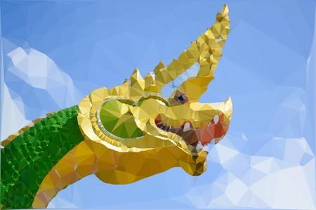 art polygon green dragon