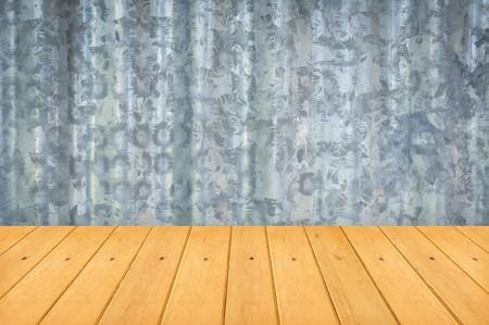 aluminium: wood floor and aluminium wall background
