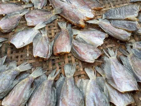 pectoralis: dry trichopodus pectoralis fish raw food Stock Photo