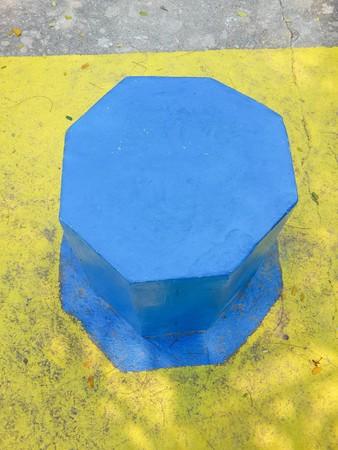 blue cement block chair