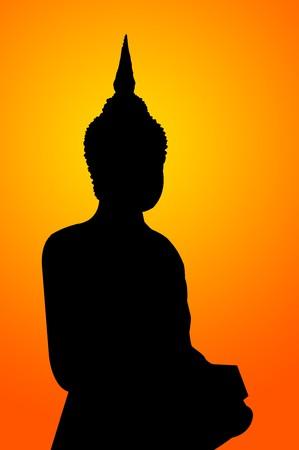 Schwarze Silhouette Buddha-Statue Illustration Standard-Bild - 55199373