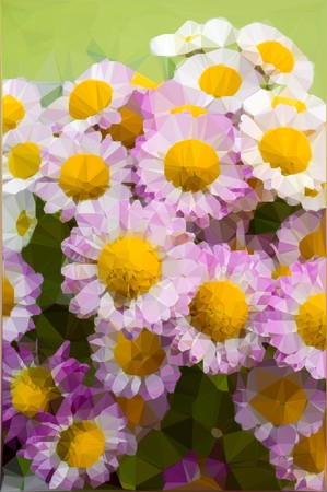 art polygon effect of chrysanthemum flower background