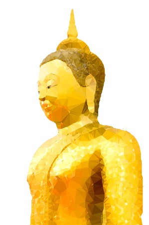 buddist: Low polygon gold buddha statue