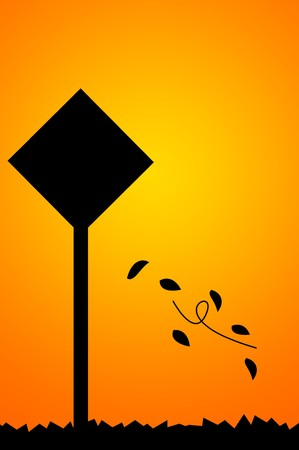 Silhouette traffic sign illustration