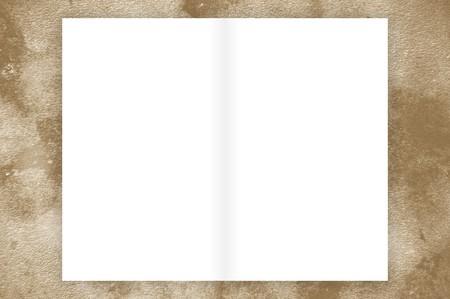 Libro blanco sobre fondo de ilustración grunge marrón Foto de archivo - 55126582