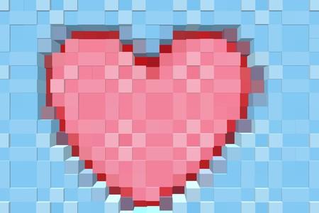 radiate: art red heart blocks pattern illustration background