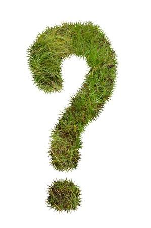 cut grass: Question mark made from grass