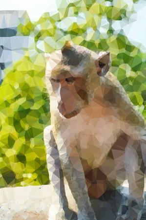 effect: art polygon effect monkey