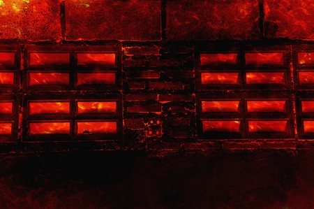 fire burning wall home background Stock Photo