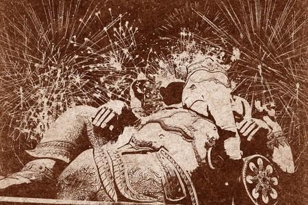 Silhouette ganesh statua su sfondo marrone Archivio Fotografico - 71819023