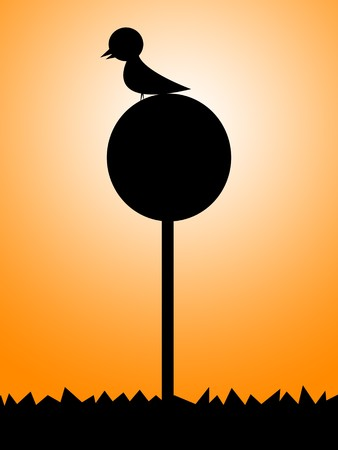 sign pole: silhouette bird on circle sign pole illustration Stock Photo