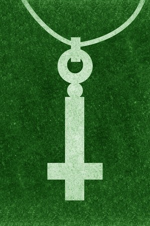 rood: silhouette necklace cross on grunge green illustration background