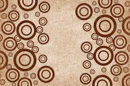 rugged: art brown circle on grunge illustration background Stock Photo