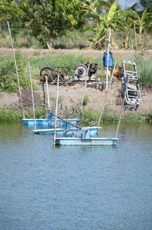 water turbine: water turbine in the pond Stock Photo