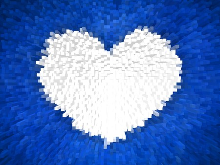 art white heart block on blue illustration background Banco de Imagens