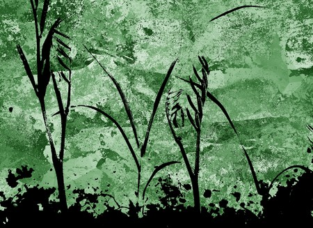 silhouette plants on grunge green background