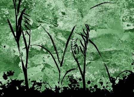 silhouette plants on grunge green background Stock fotó - 62558091