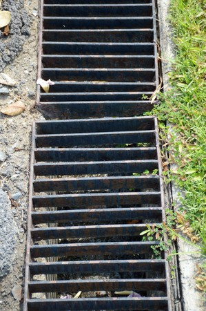 grates: Close up of grunge grate on the floor Stock Photo