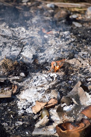 quemado: Burned charcoal and ash from fire