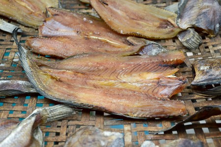 snakehead: dry striped snakehead fish raw food Stock Photo