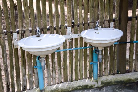 latrine: sink in garden Stock Photo