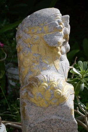 Old Lion Statue In Garden Stock Photo   68346352